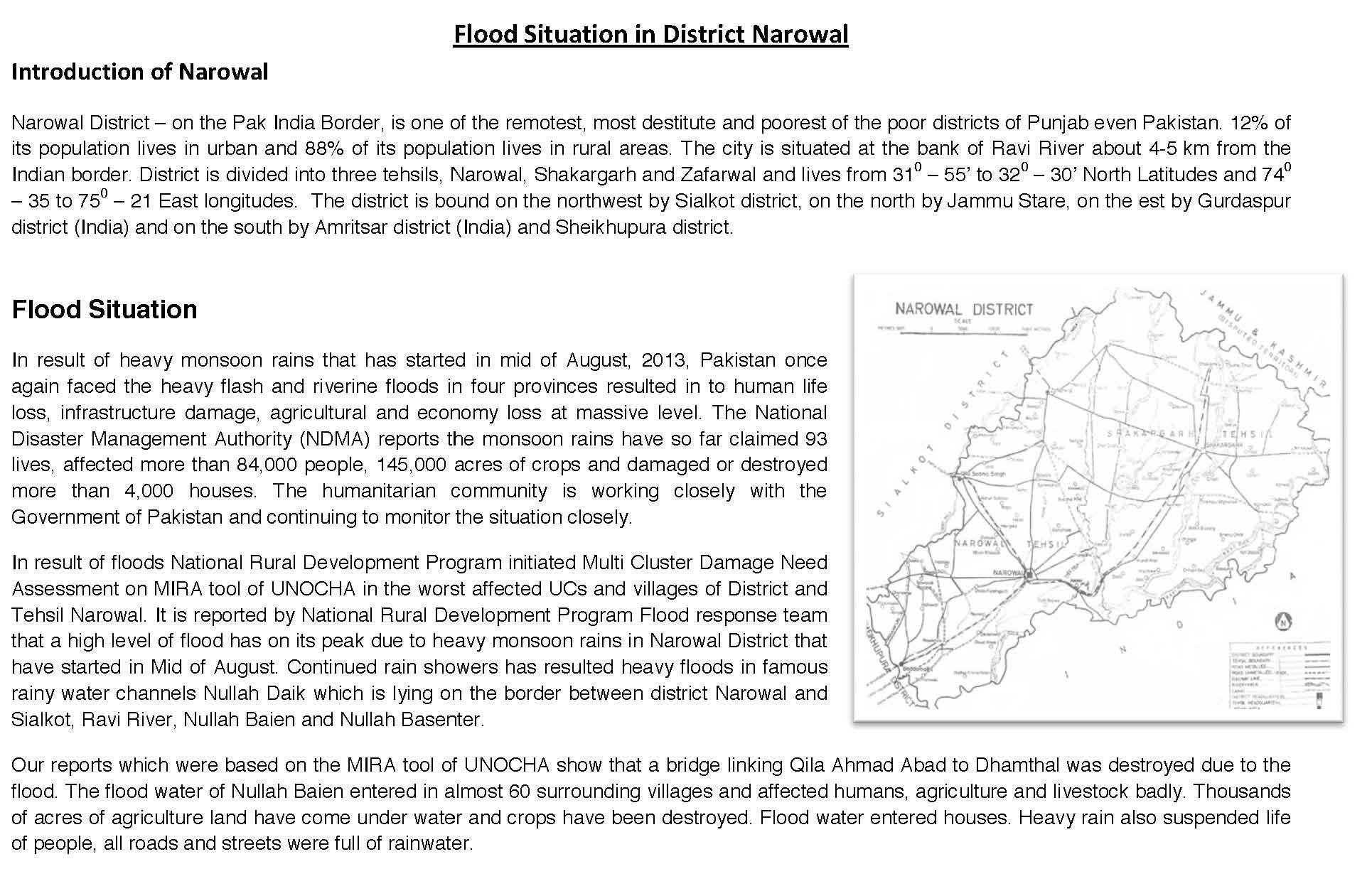 Mobile Health Unit Report - NRDP Narowal